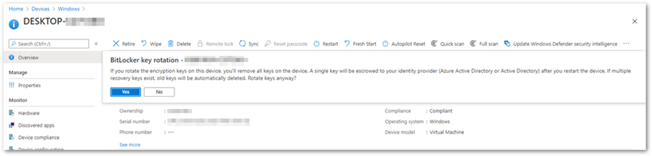 BitLocker key rotation remote action in the Microsoft Endpoint Manager admin center