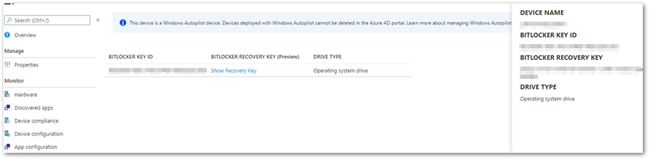 Recovery key in the MEM admin center