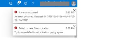 Customization policy error