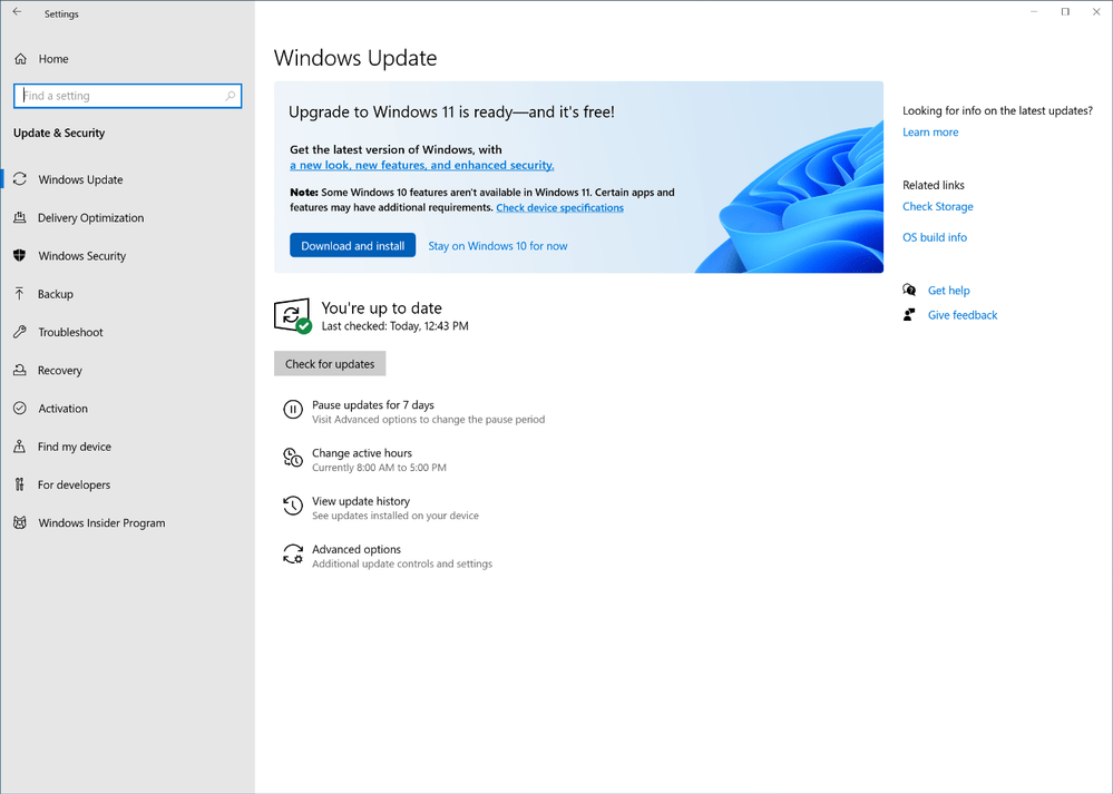The Windows Update interface showing that upgrade to Windows 11 is ready and free.