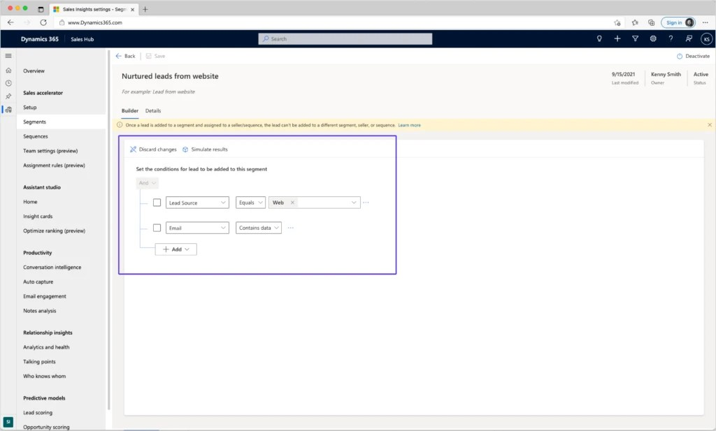 Using an assignment rule in Dynamics 365 Sales to capture leads with an email address.