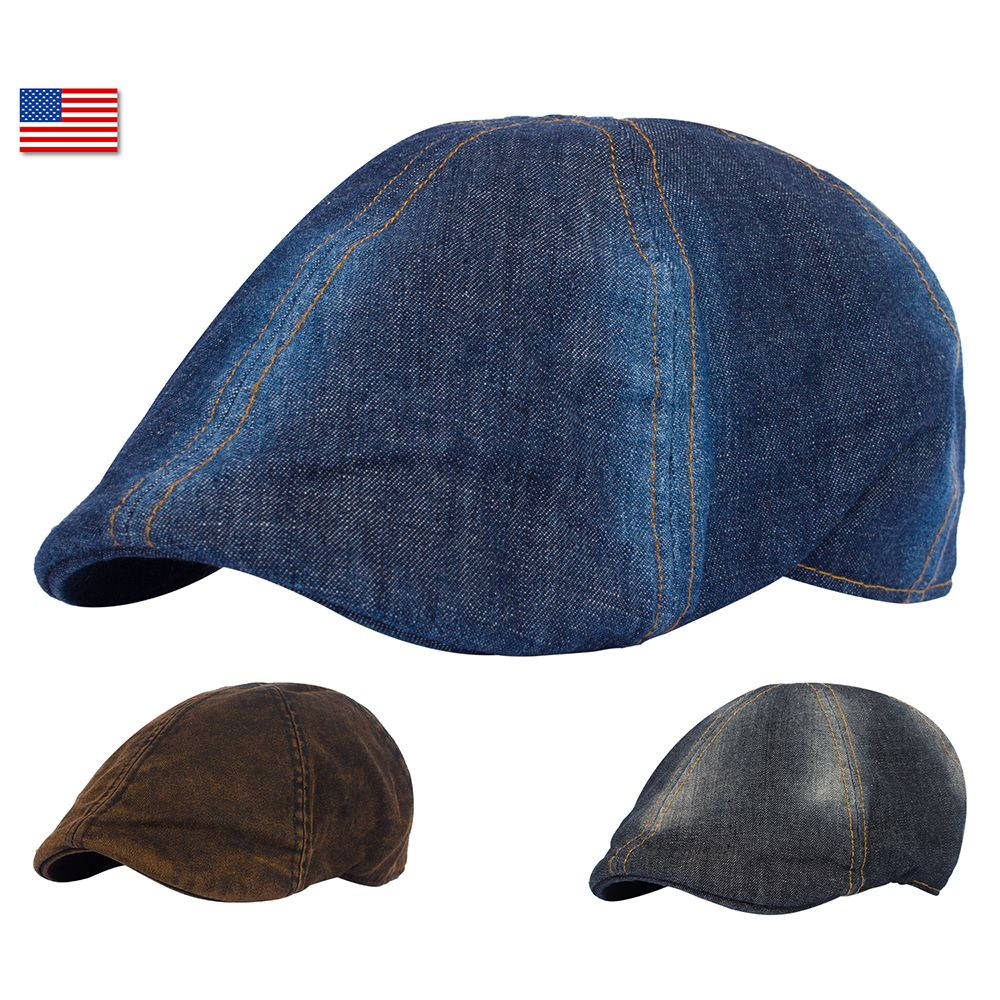 c4e8b0ac2d8 Ivy Cap Denim Jean 100% Cotton Gatsby Newsboy Flat Hat