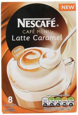 Nescafe Cafe Menu Latte Caramel, 17g (Pack of 8)