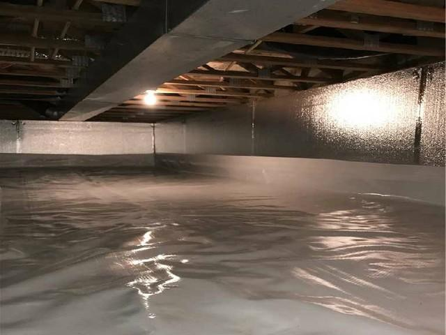 Crawl space encapsulation clean finish