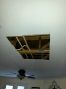 Before ceiling drywall patch