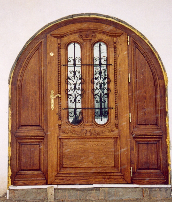 Drzwi zewnętrzne dębowe półokrągłe