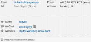 LinkedIn Profile Contact information