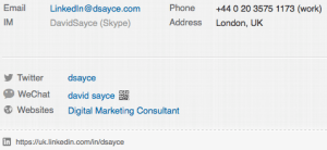 LinkedIn Profile Contact information