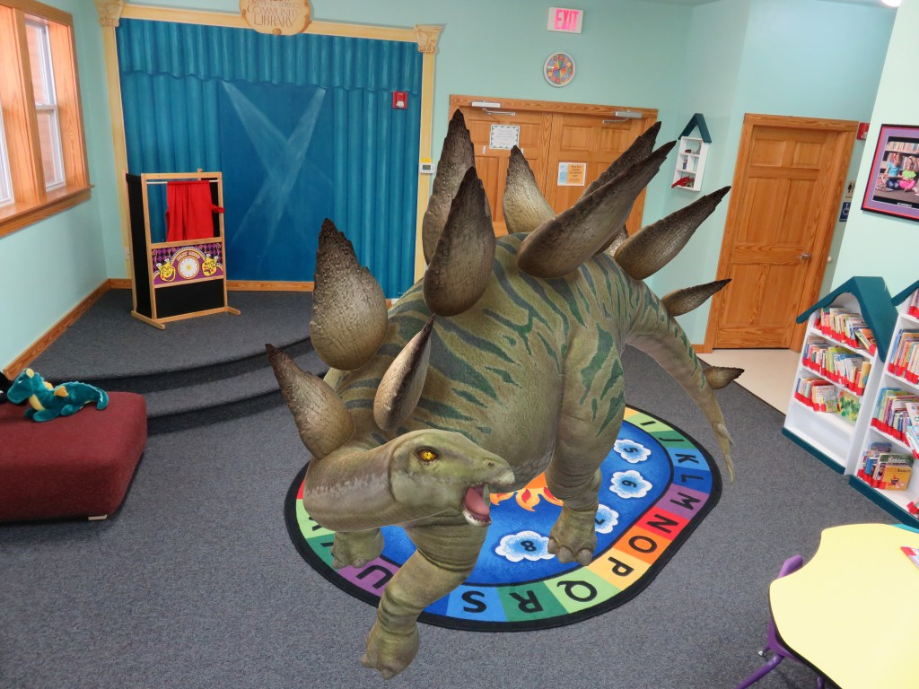 Stegosaurus in Story Time area