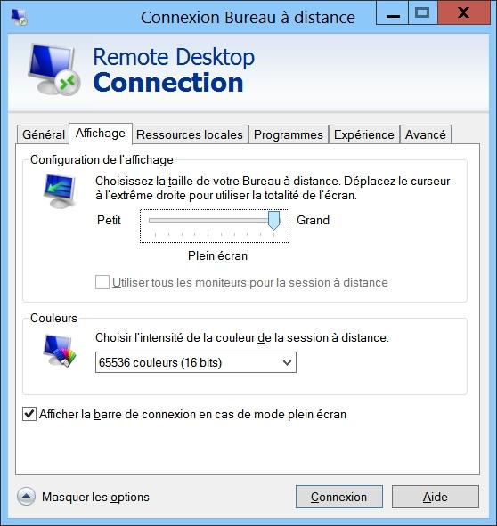 remote desktop connection affichage