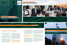 Booklet layout and design featuring events and properties for Delta Property Fund