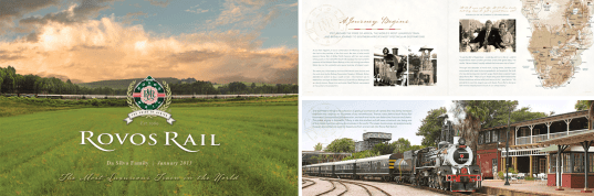 Booklet design and layout for Rovos Rail; a luxury vintage train-hotel operating in Southern Africa