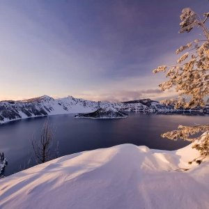Snowclad Crater Lake