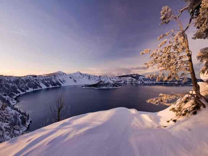 Snowclad Crater Lake