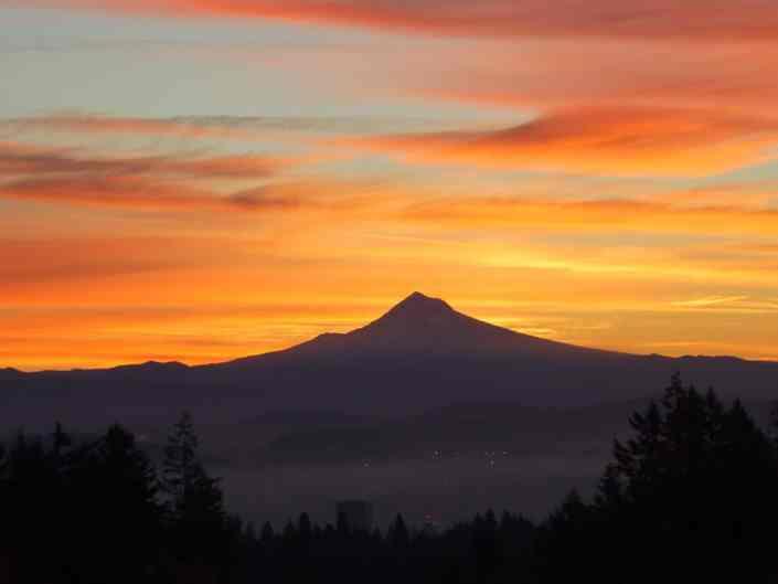 Sunrise over Mt Hood and Portland