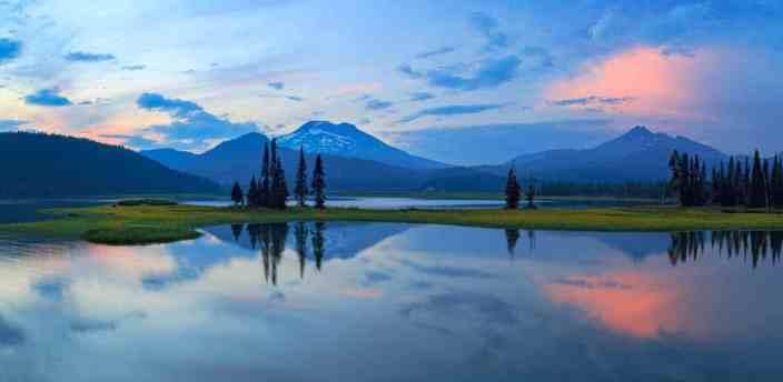 Sparks Lake Summer Sunset Panorama