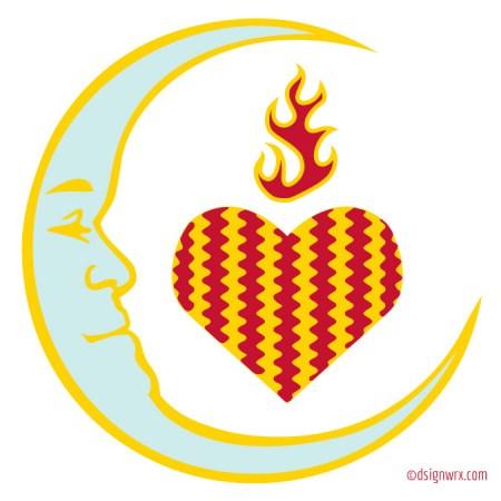 Moon Fire Heart Ripples