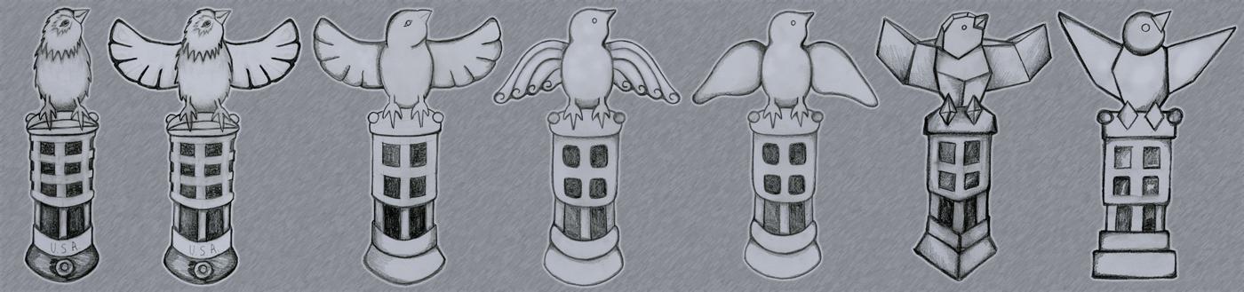 Bird Figurine Sketches