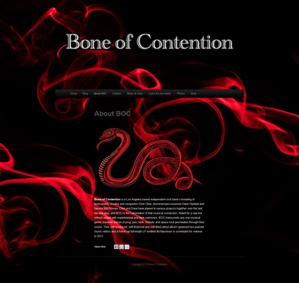 Bone of Contention Band Web Design and Implementation