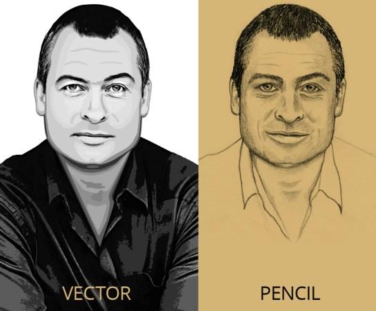 Vector and Pencil Portrait Illustrations