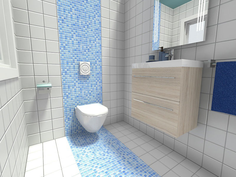 Small Bathroom Ideas Accent Wall Blue Mosaic Tile Ds Kitchen