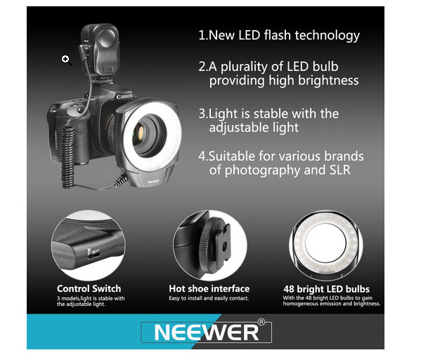 Neewer 48 Macro LED Ring Light Flash dslrphotopixel