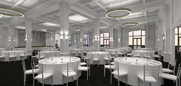 A rendering shows the Tea Room as immediately familiar, yet new. It can hold 375 people and countless memories.