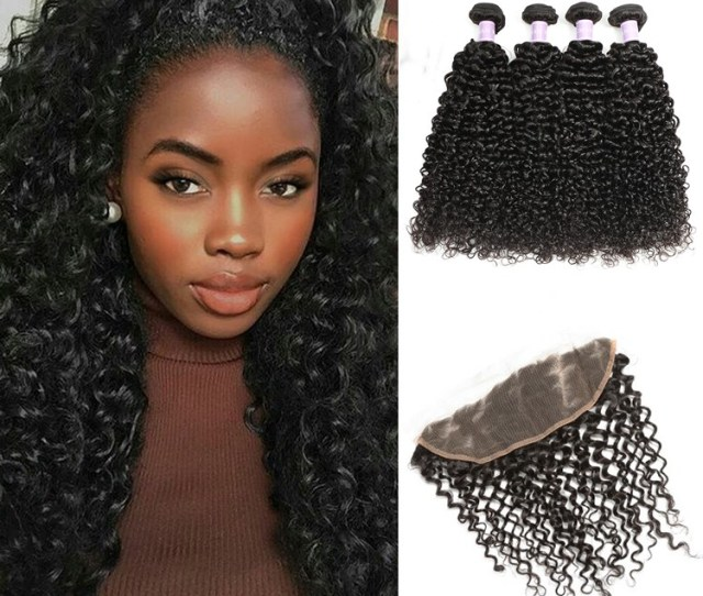 Dsoar Malaysian Curly Hair Lace Frontal Closure X Bundles