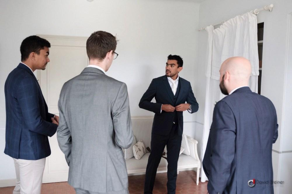préparatifs du marié au château Grand Boise de trets