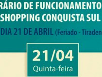 Shopping Conquista Sul anuncia horário do feriado