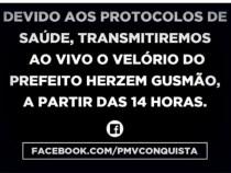 Velório do prefeito Herzem Gusmão será transmitido pela internet