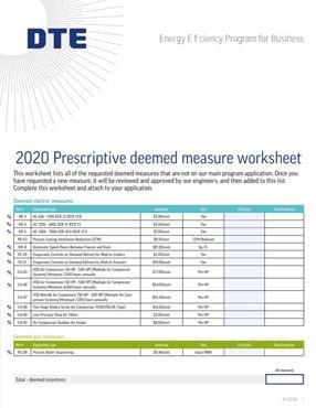 Prescriptive Deemed Measure Worksheet