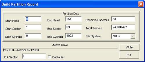rebuild partition record