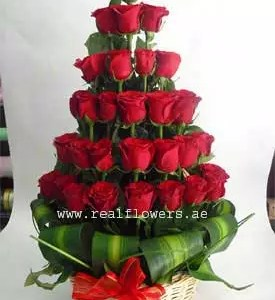 29 red roses pyramid shape