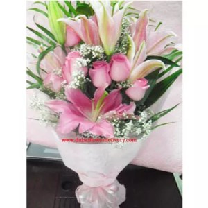 Pink Lilies Pink Roses Bouquet