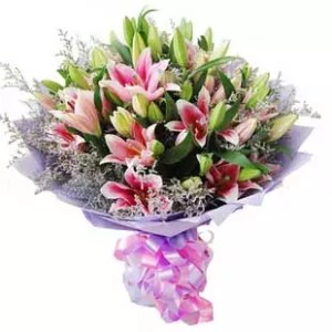 pink lilies bouquet with 20 flowers