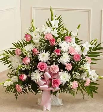 Baby girl big basket of pink white flowers