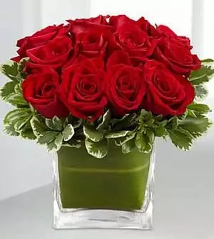 12 red roses short vase as small pretty gift