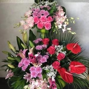 2 feet 3 level 3 color arab style flowers arrangement