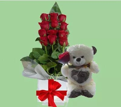 Send flowers with teddy bear as gift