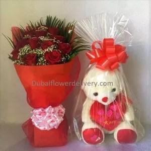 valentine's roses teddy