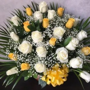 Go easy white yellow roses basket