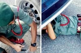 Dubai Police car tyre punctured tyre motorist