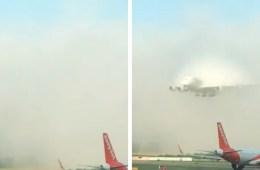 Emirates viral video flight clouds landing