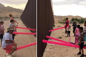 Pink seesaws that straddles America/Mexico border named Design of the Year