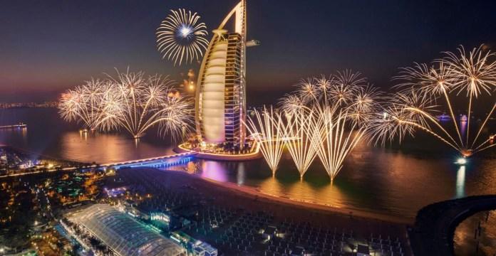 Dazzling Burj Al Arab on New Year Day