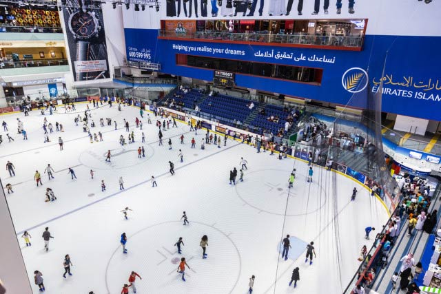 The Olympic sized ice rink in the mall