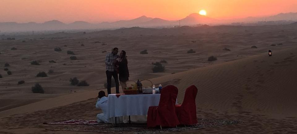 Couple Proposing at Dubai Desert Safari