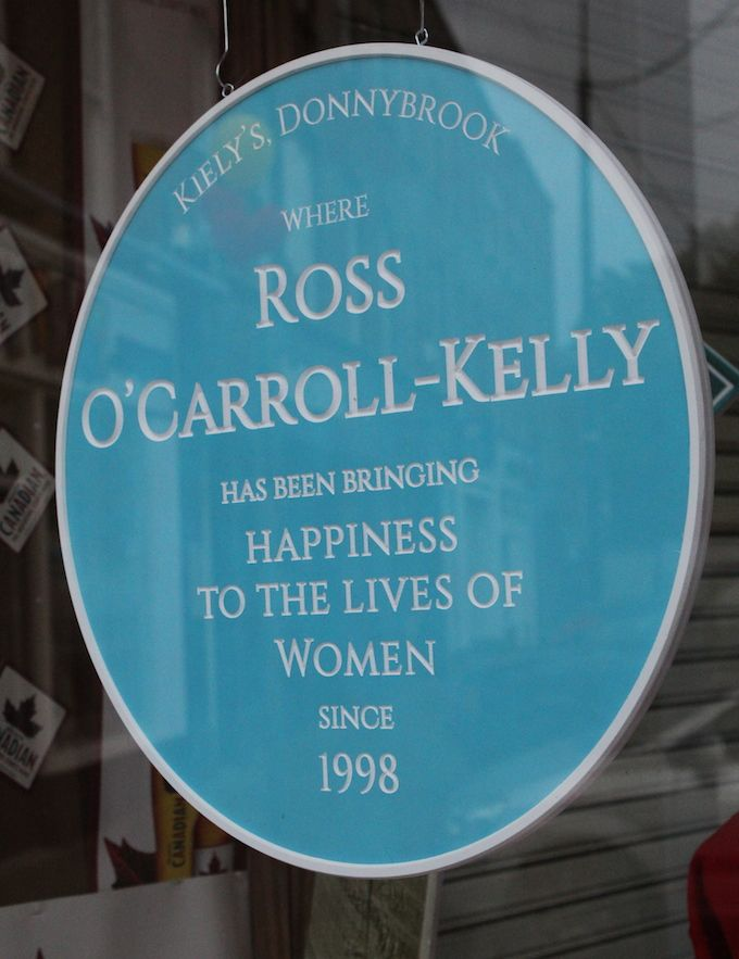 Kiely's of Donnybrook and Ross O'Carroll Kelly plaque