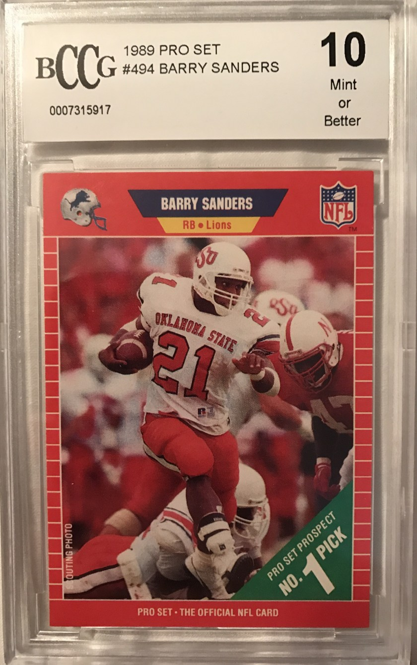 1989 Pro Set Barry Sanders – Another absolute legend from the NFL and Tecmo  Bowl. I shouldn t have to tell any of my readers who Barry Sanders is. e99890e3b